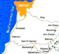 Ain Zhalta's location relative to Beirut