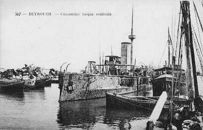 Turkish cruiser hit in the Beirut harbor during WWI